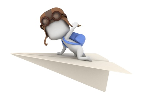 paper airplane: 3D Illustration of a Kid Riding a Paper Plane