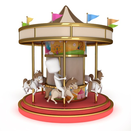amusement park ride: 3D Illustration of one Man Riding a Carousel