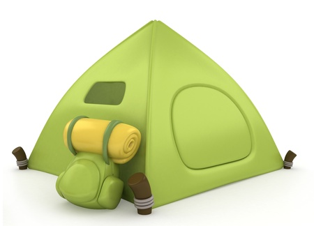 campsite: 3D Illustration of a Green Tent Stock Photo