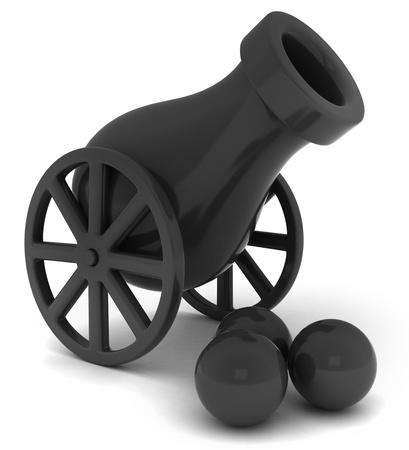 Ilustración 3D de un cañón y balas de cañón Foto de archivo