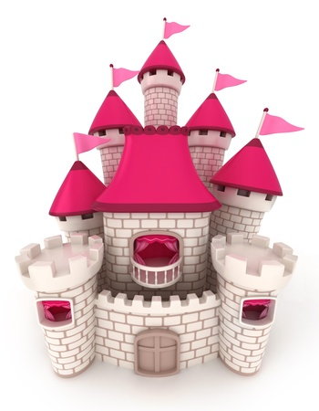 fantasy castle: 3D Illustration of a Beautiful Castle Stock Photo