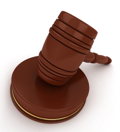 ruling: 3D Illustration of a Gavel on White
