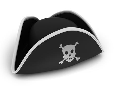 3D Abbildung von einem Piratenhut Standard-Bild