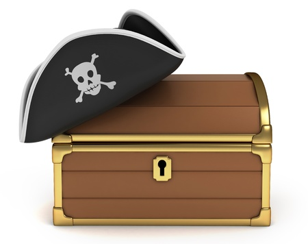 pirate hat: 3D Illustration of Pirate Hat on Treasure Chest Stock Photo