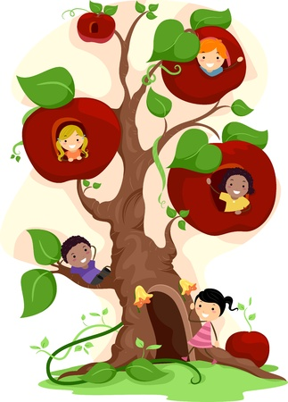 Illustration of Kids Playing in an Apple Tree illustration