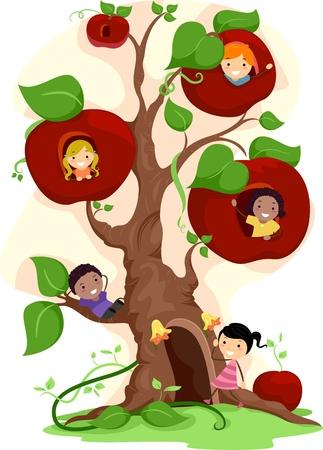 ni�os dibujando: Ilustraci�n de ni�os jugando en un �rbol de manzanas
