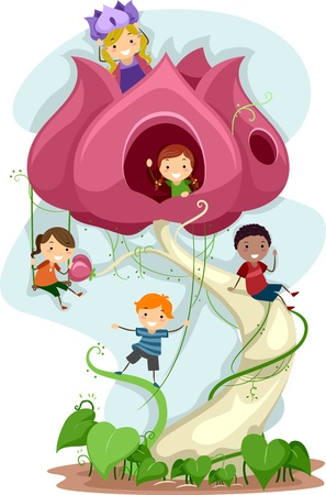 Illustration of Kids Playing in a Giant Flower