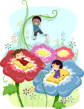 children playing cartoon: Illustration of Kids Playing Amongst Giant Flowers