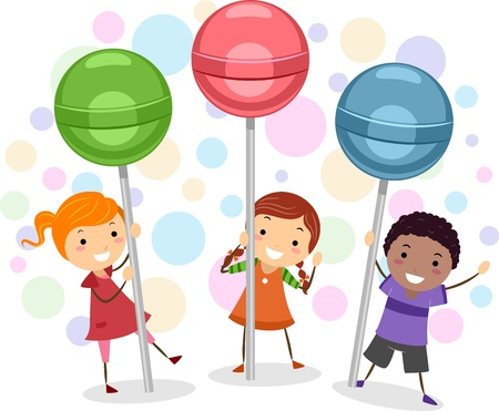 Illustration of Kids Holding Giant Lollipops