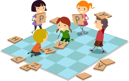 playing games: Illustration of Kids Playing a Board Game