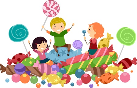 Illustration of Kids Surrounded by Candies