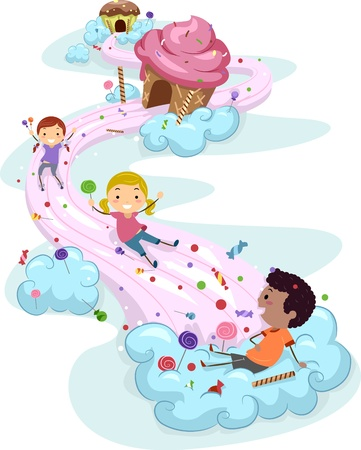 slide: Illustration of Kids Playing in a Candy Land