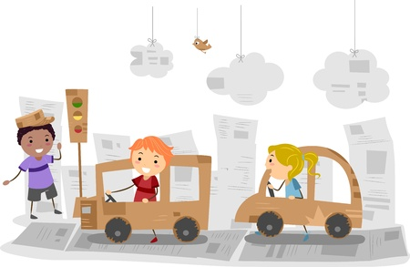 Illustration of Kids Playing with Cars Made of Carton illustration