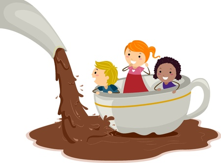 Illustration of Kids Playing in a Chocolate Pond illustration