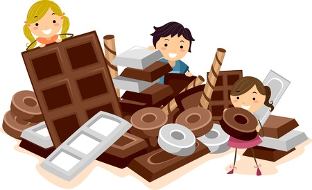 chocolate bars: Illustration of Kids Surrounded by Chocolates Stock Photo