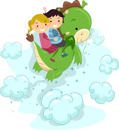 Illustration of Kids Riding a Dragon Stock Illustration - 10901658