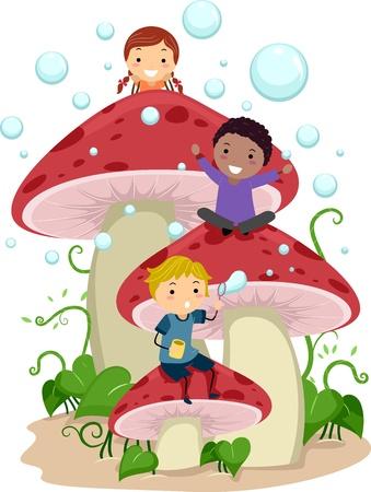 amongst: Illustration of Kids Playing Amongst Giant Mushrooms