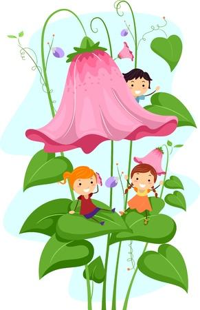 Illustration of Kids Playing Amongst Giant Flowers illustration