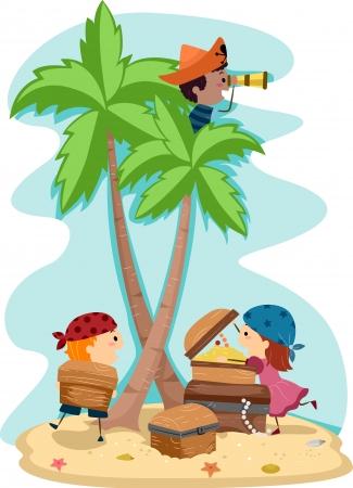 schateiland: Illustratie van kinderen verkleed als piraten Stockfoto