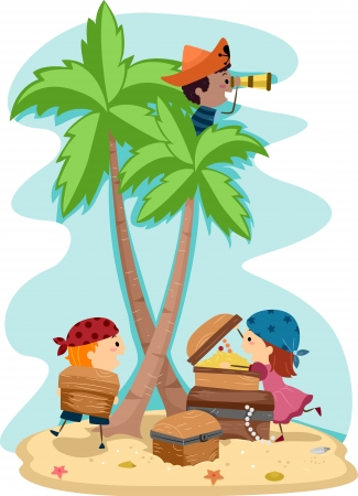 island clipart: Illustration of Kids Dressed Up as Pirates