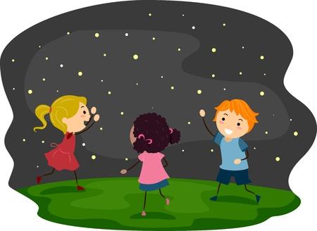 night stick: Illustration of Kids Chasing Fireflies Stock Photo