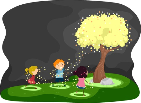 fireflies: Illustration of Kids Gathered Around a Tree Covered with Fireflies