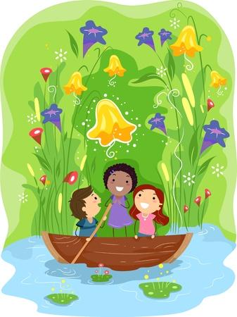 children pond: Illustration of Kids Paddling Their Way Through a Pond Stock Photo