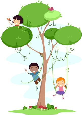 cartoon trees: Illustration of Kids Playing with Vines