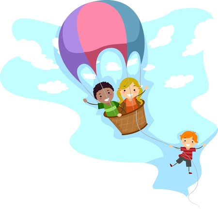 Illustration of Kids Riding a Hot Air Balloon illustration