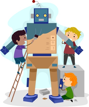 Illustration of Kids Building a Robot illustration