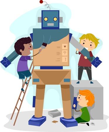 stick children: Illustration of Kids Building a Robot