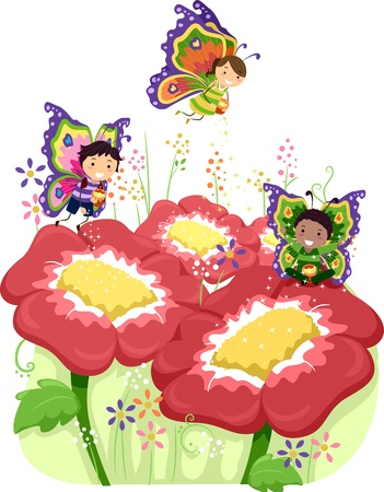 Illustration of Kids Dressed Up as Butterflies illustration
