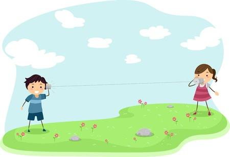 Ilustración de niños jugando con Teléfonos hecha de latas Foto de archivo - 11197704