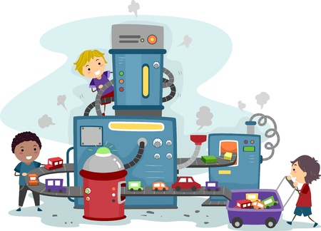 Illustration of Kids Playing in a Toy Car Factory illustration