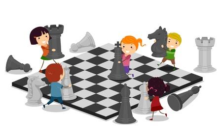 jugando ajedrez: Ilustraci�n de ni�os a jugar ajedrez