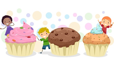 Illustration of Kids Playing Amongst Giant Cupcakes illustration