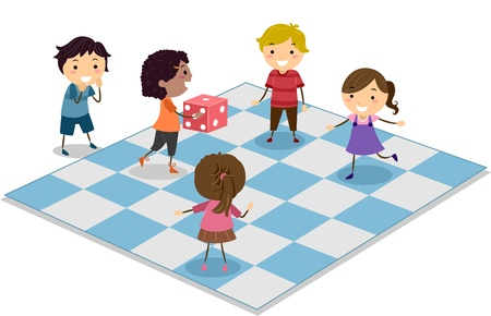 leisure games: Illustration of Kids Playing Dice Stock Photo