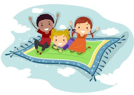 flying man: Illustration of Kids Riding a Flying Carpet