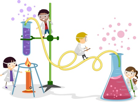 hadas caricatura: Ilustraci�n de ni�os jugando en un laboratorio Foto de archivo