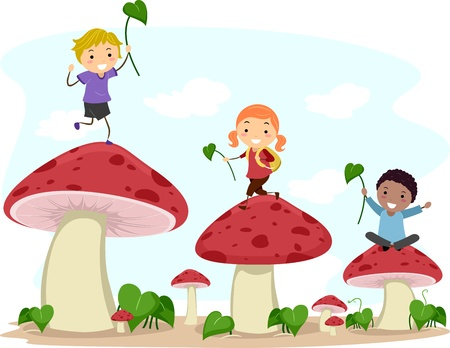 hopping: Illustration of Kids Hopping from One Mushroom to Another Stock Photo