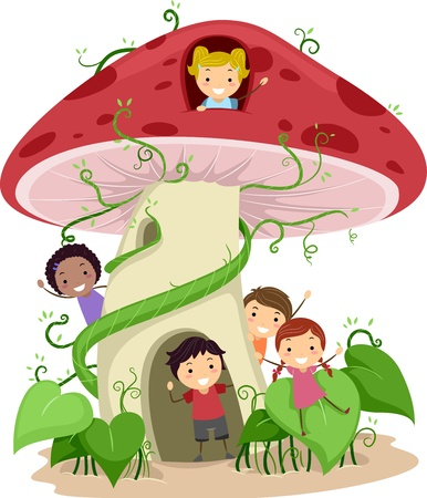 Illustration of Kids Playing in a Mushroom Shaped House illustration