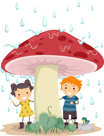 Illustration of Kids Taking Cover from the Rain illustration