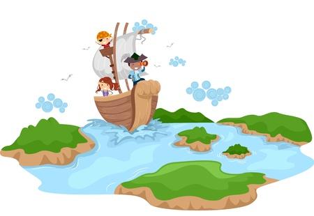 pfadfinderin: Illustration von Kids als Piraten verkleidet