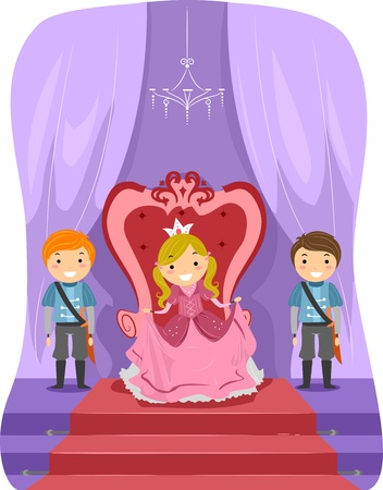 throne: Illustration of a Girl Dressed as a Princess Stock Photo