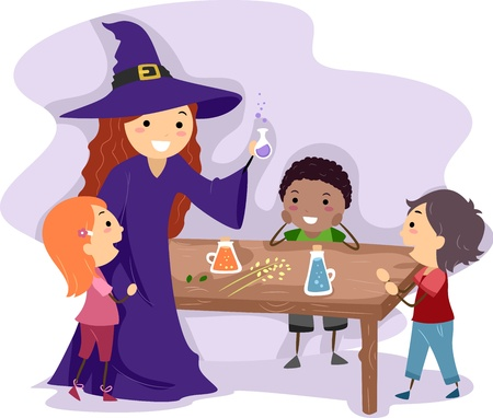 Illustration of a Witch Showing Kids How to Make a Potion illustration
