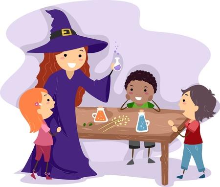 pocion: Ilustración de una bruja de mostrarle a los niños cómo hacer una poción