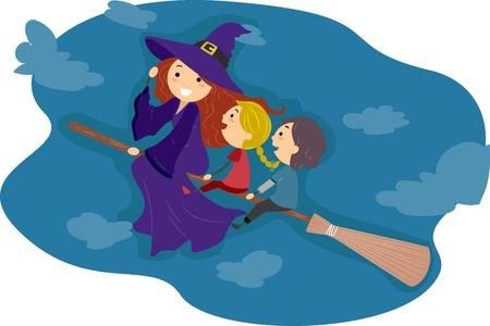 brujas caricatura: Ilustraci�n de los ni�os montar un palo de escoba Foto de archivo