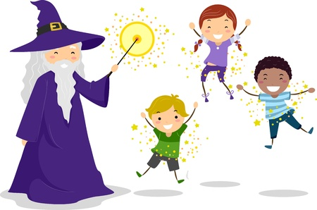 warlock: Illustration of a Wizard Casting a Spell on Kids