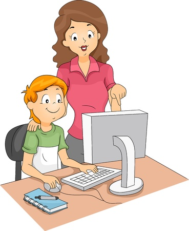 computer club: Illustration of a Computer Teacher Guiding Her Student Stock Photo