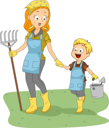 kids club: Illustration of a Gardening Club Adviser Guiding Her Student